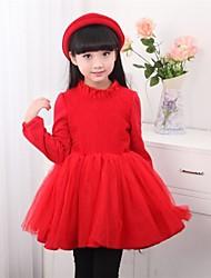 Vestido Chica de - Invierno / Otoño - Poliéster - Rosa / Rojo