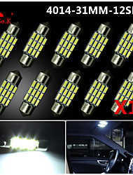 10X NEW White 31mm 12 4014 SMD Festoon Dome Map Interior LED Light Lamp DE3175 3022 12V