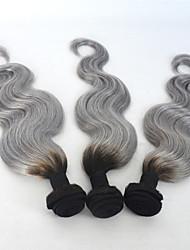 """12 """"-24"""" gris plata ombre extensiones de cabello humano 3pcs / lot armadura del pelo gris virginal peruana cuerpo ombre pelo de la onda"""