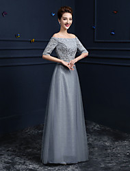 Sheath / Column Off-the-shoulder Floor Length Lace Satin Tulle Formal Evening Dress with Crystal Detailing