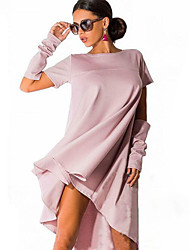 Women's Solid Loose Dress , Casual Round Neck Short Sleeve