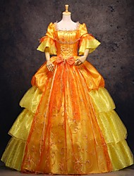 Steampunk®Gold Long Sleeves Layered Princess Dress Victorian Dress Royal Vintage Party Long Prom Dresses