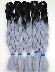 24inch 100g #Black&Grey blue Ombre Two Tone Colored Xpression Snythetic Long Hair Jumbo Twist Braid  Hair