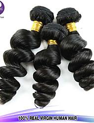 misturar 3pcs tamanho / lot 8-26inch cabelo virgem onda solta peruano cor preta cabelo humano cru tece atacado.