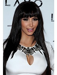 Woman's Black Color Long Straight Synthetic Wigs