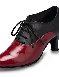 Non Customizable Women's Dance Shoes Latin Leather / Patent Leather Cuban Heel Black / Red
