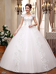Ball Gown Wedding Dress Sparkle & Shine Floor-length V-neck Lace Satin Tulle with Crystal Sequin