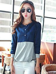 Fashion Women's Mixed Colors Round Neck Long Sleeve Cotton Blue / Orange Blouse T-shirt Tops