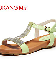 Aokang Women's Suede Flat Heel Sandals