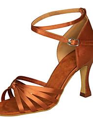Non Customizable Women's Dance Shoes Latin / Swing/Salsa/Samba / Leatherette Chunky Heel Black/Brow/Silve/ Gold