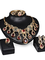 Women Wedding Jewelery Bridal Water-drop Ruby High-grade Wave-shaped Necklace Earrings Ring Bracelet Four Sets