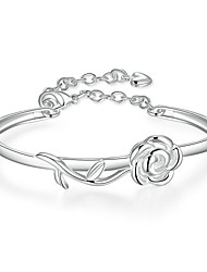 Lureme Elegant Rose Flower Silver Plated Charm Bangle for Women Jewelry