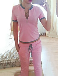 Women's Solid Pink / Green / Orange Hoodies , Casual / Cute Asymmetrical Short Sleeve