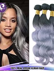 3pcs / porción brasileña gris extensiones de cabello pelo salud pad virginal del cuerpo del pelo de la onda plata bultos cuerpo de la