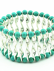 Vintage Look Antique Silver Plated Alloy Turquoise Stone Beads Elastic Bracelet(1PC)