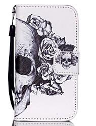 hzbyc®white padrão crânio caso pu cartão material de cordão para iphone 4 / 4s