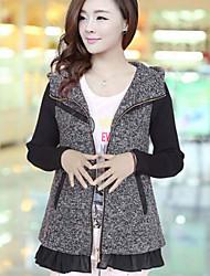 Women's Large Size Hooded Woolen Overcoat