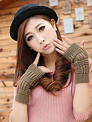 Women's Winter Warm Knitting Wool Lines Fingerless Gloves