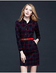 Women's Plaid Red Dresses , Sexy / Bodycon Shirt Collar Long Sleeve