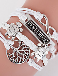 Men's White Turtle /Life Tree/Best Frienda Braided/Cord Leather Handmade Multilayer Charm Bracelet Unisex