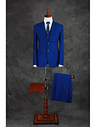 Suits Tailored Fit Notch Single Breasted Two-buttons Cotton Blend Solid 3 Pieces Royal Blue