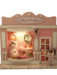 European Stores In Love Life Large Dream Villa DIY Wood Dollhouse Including All Furniture Lights Lamp LED