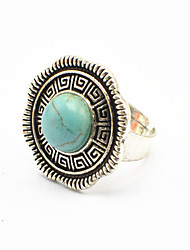 Vintage Look Antique Silver Round Turquoise Stone Greek Lines Adjustable Free Size Ring(1PC)
