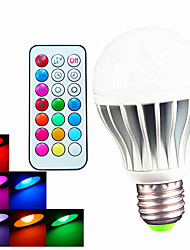 9W B22 / E26/E27 Ampoules Globe LED A60(A19) 3pcs LED Haute Puissance 550LM lm RGB Gradable / Commandée à Distance / Décorative AC 100-240