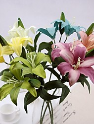 Vintga Style Of Painting 2 Head/Branch Greenish Lily Flower Artificial Flower