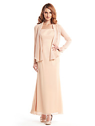 LAN TING BRIDE Sheath / Column Mother of the Bride Dress - Convertible Dress Ankle-length Long Sleeve Crepe with Pleats