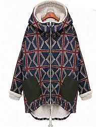 Winter Women's Plaid Blue Coats & Jackets , Sexy / Casual / Work Pan Collar Long Sleeve