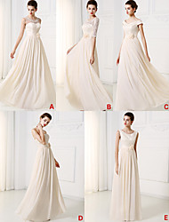 Floor-length Chiffon / Lace Bridesmaid Dress - Champagne A-line Sweetheart