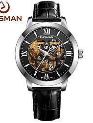 EASMAN Men Watch Skeleton Genuine Leather Roma Classic Automatic Machine Self-winding Big Luxury Men Wrist Watches