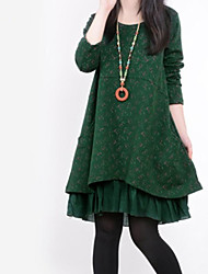 Women's Round Collar Flora Print Stitching Loose Long Sleeve A-line Plus Size Dress