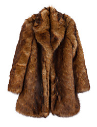Women's Plus Size / Party/Cocktail Vintage / Sophisticated Fur Coat,Animal Print Shirt Collar Long Sleeve Winter Brown Faux Fur Thick