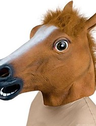 Popular Horse Head Mask Creepy Halloween Costume Theater Prop Latex Rubber Brown