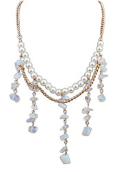 High-end European And American Fashion Oval Crystal Pearl Necklace Wedding Jewelry