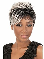 Fashion Mix Color Short Wavy Woman's Synthetic Wigs Hair
