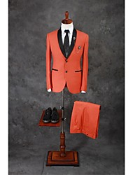 Suits Tailored Fit Shawl Collar Single Breasted Two-buttons Cotton Blend Solid 2 Pieces Orange