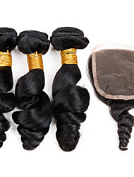 4 bundles 6A peruvian  loose wave virgin hair with closure 3 Bundles Peruvian Loose Wave With Closure