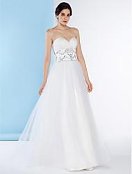 Lanting sposa una linea di abito da sposa-pavimento-lunghezza di Tulle dell'innamorato