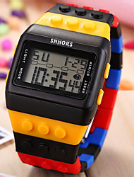 Herren Armbanduhr Uhr Holz digital LCD Kalender Chronograph Alarm Plastic Band Schwarz Weiß Blau Rosa Mehrfarbig 1 # 2 # 3 # 4 # 5 #