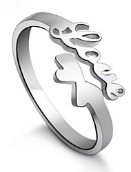 S925 Fine Silver Angel LOVE  Adjustable Ring Fine Jewelry