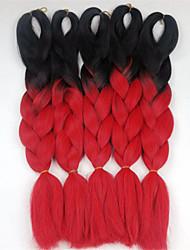 24inch 100g #Black&ombre rouge bleu deux tons de couleur Xpression snythetic cheveux longs torsion jumbo tresse les cheveux