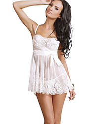 Women Chemises & Gowns Lace Lingerie Nightwear Solid Chiffon Lace Core Spun Yarn White