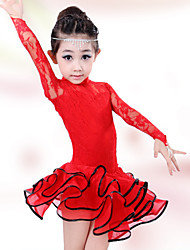 Latin Dance Children's Fashion Lace Performance Cotton Dresses Dance Costumes