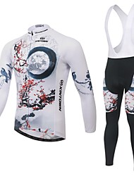 Cycling Jersey with Bib Tights Men's Long Sleeve BikeBreathable / Ultraviolet Resistant / Moisture Permeability / Back Pocket /