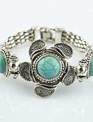 Vintage Look Antique Silver Plated Alloy Flower Turquoise Lava Rock Stone Bracelet(1PC)