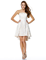 A-Line Strapless Asymmetrical Lace Cocktail Party Homecoming Prom Dress with Lace by TS Couture®