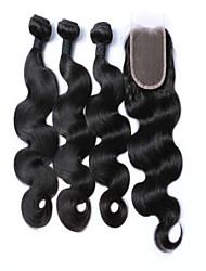 4pcs / lot cheveux brésiliens de vague de corps tisse fermeture en haut à dentelle vierges extensions de cheveux humains cheveux